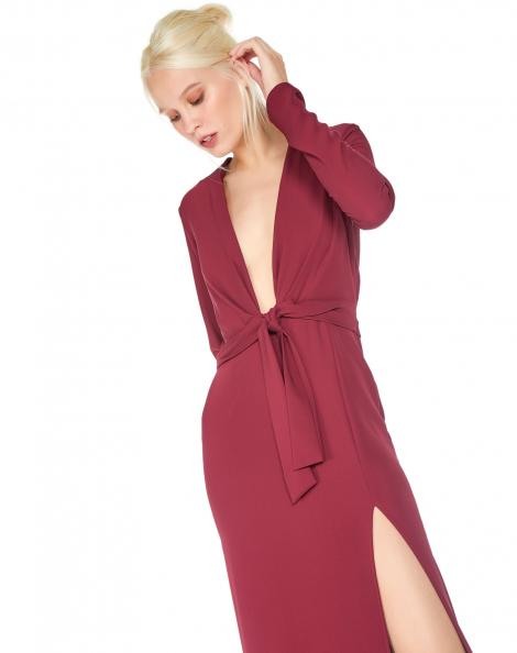 Amaro Feminino Vestido Longo Decote V Amarração, Vermelho