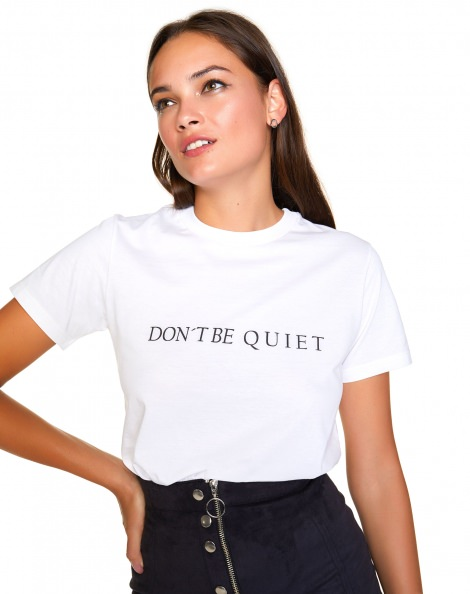 Amaro Feminino T-Shirt Don't Be Quiet, Branco