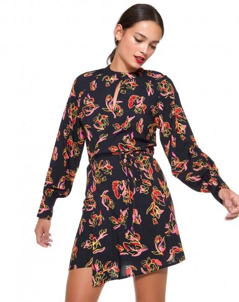 Amaro Feminino Vestido Transpassado Estampa, Preto