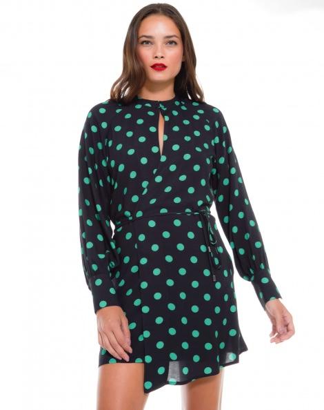 Amaro Feminino Vestido Transpassado Estampa, Verde