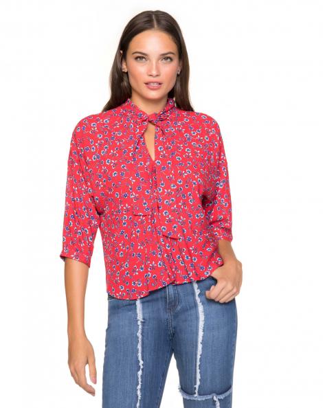 Amaro Feminino Blusa Estampada Viscose, Vermelho