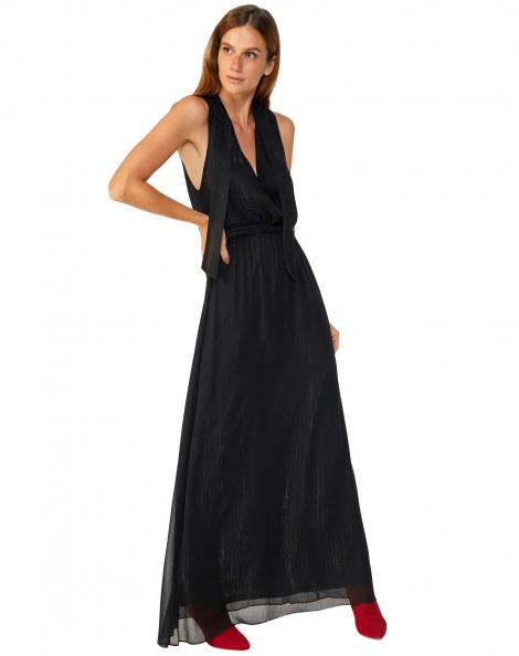Amaro Feminino Vestido Longo Decote V Chiffon, Preto