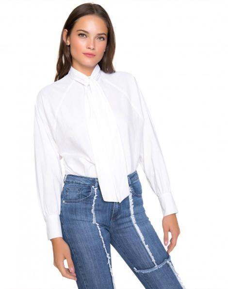 Amaro Feminino Camisa Wide Tricoline, Branco