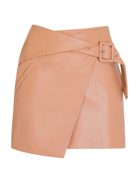 Amaro Feminino Mini Saia Leather Transpassada, Rosa