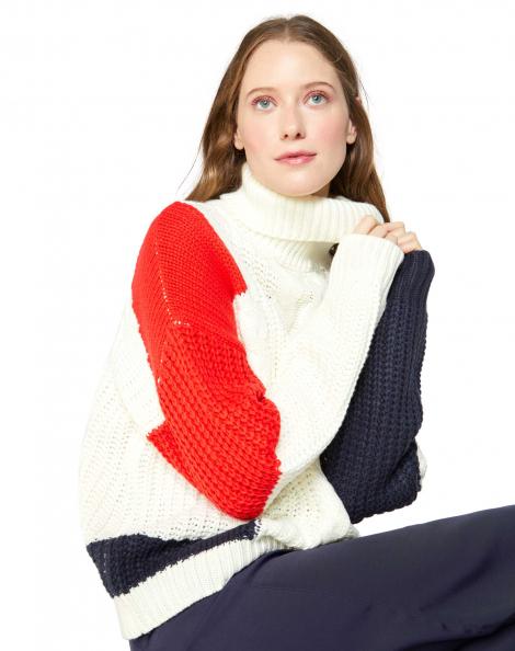 Amaro Feminino Suéter Patchwork, Branco