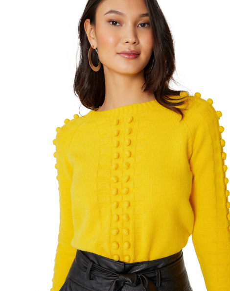 Amaro Feminino Suéter Com Aplicações Tridimensionais, Amarelo