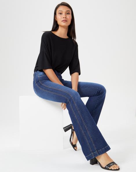 Amaro Feminino Calça Jeans Flare Classic Recorte, Azul