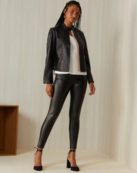 Amaro Feminino Calça Skinny Leather, Preto