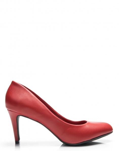 Amaro Feminino Scarpin Bico Redondo Salto Fino, Vermelho
