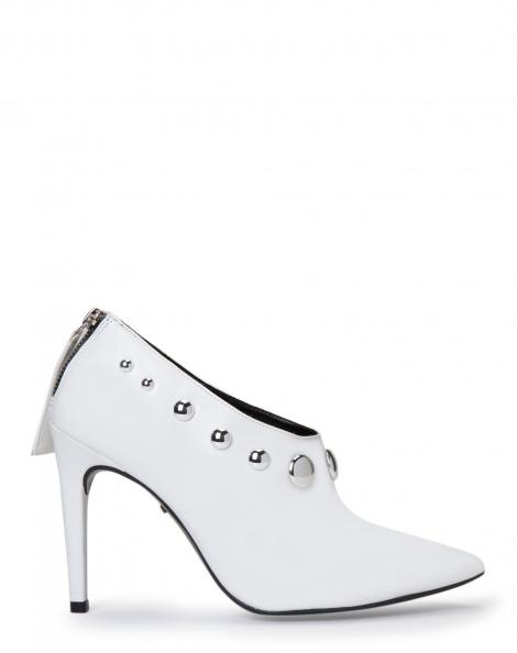 Amaro Feminino Ankle Boot Salto Fino Com Metais, Branco