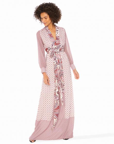 Amaro Feminino Vestido Longo Estampado Com Decote, Rosa