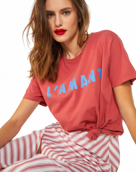 Amaro Feminino T-Shirt L Amant, Rosa