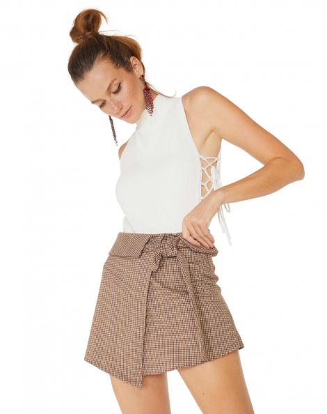 Amaro Feminino Shorts Saia Estampado Com Amarração, Preto