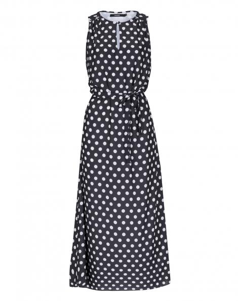 Amaro Feminino Vestido Midi Crepe Com Blusê, Preto